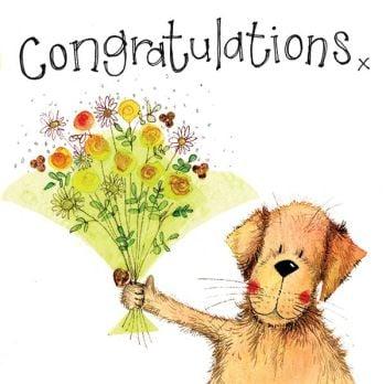 Congratulations Cards - ADORABLE Dog With BOUQUET Congratulations CARD - Pregnancy - ENGAGEMENT - Success Congratulations Cards
