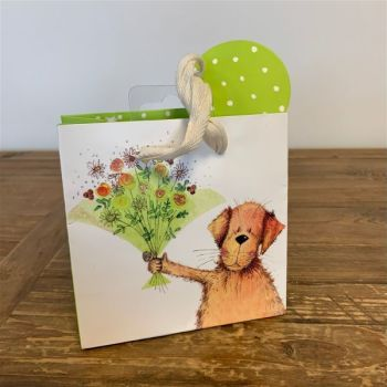 ADORABLE Dog With Bouquet Gift Bag - SMALL Gift BAGS - Small BAGS For GIFTS - Small GIFT Bag WITH Matching GIFT TAG - Gift BAGS