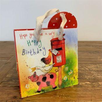 Funny Farmyard Birthday Gift Bag - SMALL Gift BAGS - Small BAGS For GIFTS - BIRTHDAY GIFT Bags - CUTE Farm Animals GIFT BAG - GIFT BAGS