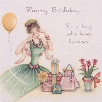 To A Lady Who Loves Surprises - Birthday CARDS For Her - Happy Birthday CARD - Pretty BIRTHDAY Card For WIFE - Friend - AUNTIE - Gran - SISTER
