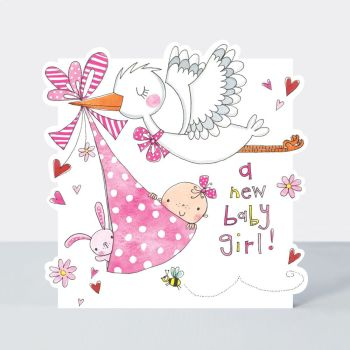 New Baby Girl Cards - A NEW Baby GIRL - Cute BABY Girl & Stork Card - NEWBORN Baby CARD - New BABY Greeting CARDS