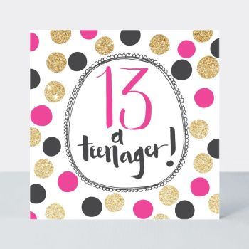 13th Birthday Card For Her - 13 A TEENAGER - Fun PINK & Gold GLITTER Birthday CARD - 13th BIRTHDAY - 13th BIRTHDAY Card For DAUGHTER - Niece - FRIEND