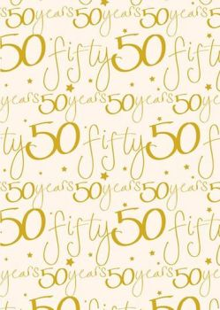 50th Birthday Wrapping Paper - 2 SHEETS Of LUXURY Gift WRAP - RECYCLABLE Wrapping Paper - Flat WRAP - WRAPPING Paper SHEETS - BIRTHDAY Gift WRAP