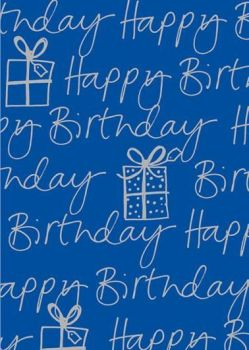 Blue & Silver Happy Birthday Wrapping Paper - 2 SHEETS Of LUXURY Gift WRAP - RECYCLABLE Wrapping Paper - Flat WRAP - WRAPPING Paper SHEETS - BIRTHDAY
