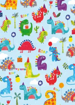 Cute Dinosaurs With Balloons Birthday Wrapping Paper - 2 SHEETS Of LUXURY Gift WRAP - RECYCLABLE Wrapping Paper - Flat WRAP - WRAPPING Paper SHEETS