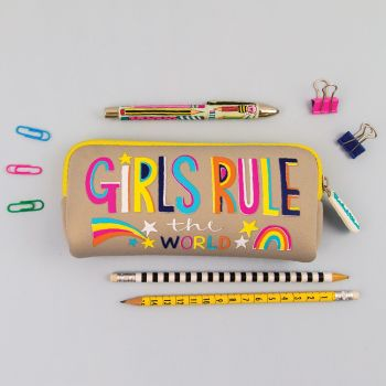 Pencil Cases For Girls - GIRLS Rule The WORLD - Pencil CASES For TEENAGE Girl - SCHOOL Pencil CASES - Washable PENCIL Case