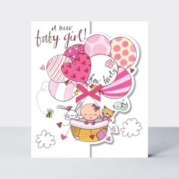 A New Baby Girl How Lovely - NEW Baby GREETING Cards - New BABY Girl CARDS - PRETTY Baby GIRL In BALLOON CARD