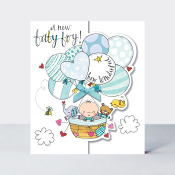 A New Baby Boy How Wonderful - NEW Baby GREETING Cards - New BABY Boy CARDS - CUTE Baby BOY In BALLOON CARD