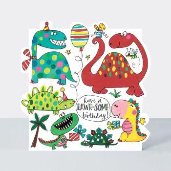 Have A Rawr-Some Birthday - KIDS Birthday CARDS - Dinosaur BIRTHDAY Cards - DINOSAUR Birthday CARD For NEPHEW - Cousin -FRIEND