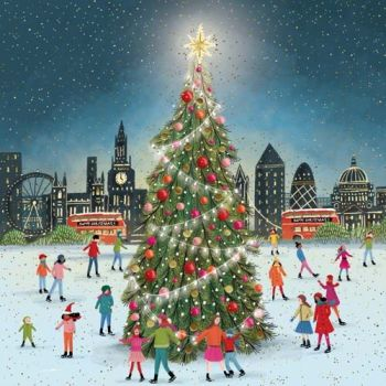 London At Christmas Card - BEAUTIFUL Christmas CARD - Ice Skaters AROUND A TREE - Merry CHRISTMAS & Happy NEW Year GREETING Card For FRIENDS & Family