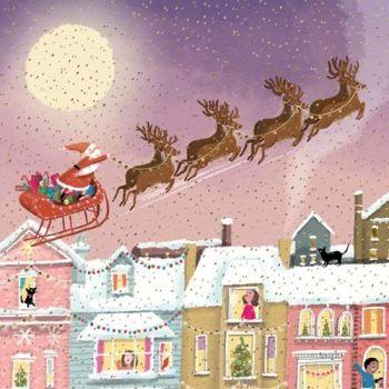 Beautiful Santa Christmas Card - LUXURY GOLD Foil Christmas CARD For FRIENDS & Family - SANTA Flying THROUGH The Sky CHRISTMAS Card