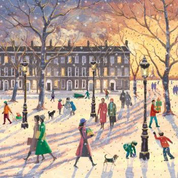 Beautiful Christmas At Sunset Card - SNOW Scene In THE PARK CHRISTMAS Card - Merry CHRISTMAS & Happy NEW Year GREETING Card For FRIENDS & Family