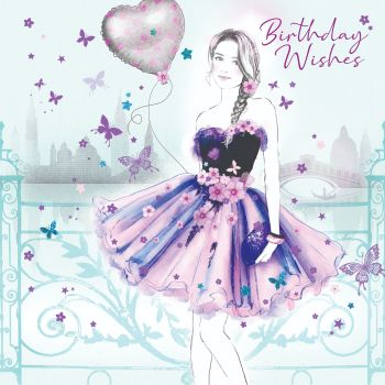 Birthday Wishes Greeting Card - BIRTHDAY Cards For Her - Girl With BALLOON Birthday CARD - LOVELY Birthday Card FOR Niece - FRIEND - Sister In LAW