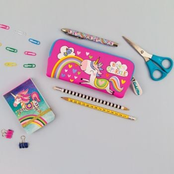 Pencil Cases For Girls - BORN To SPARKLE - Cute UNICORN Pencil CASE - SCHOOL Pencil CASES - Washable PENCIL Case - STATIONERY