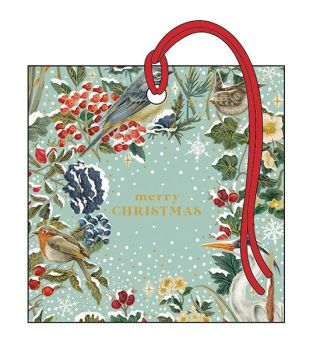 Christmas Gift Tags - WINTER Birds & BERRIES GIFT Tag - LUXURY GOLD Foil GIFT Tags - GIFT Tags - GORGEOUS Winter SCENE Xmas GIFT Tag
