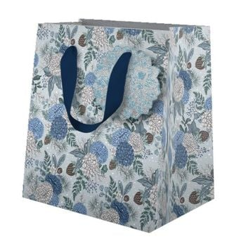 Christmas Gift Bags - SMALL Gift BAGS - BLUE SAPPHIRE & SNOW GIFT Bag - BEAUTIFUL Blue With Silver FOIL Christmas GIFT Bag
