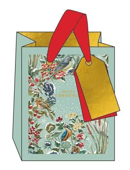 Christmas Gift Bags - SMALL Gift BAGS - WINTER Birds & BERRIES GIFT Bag - MERRY Christmas GIFT Bag - PRETTY Gold FOIL Gift BAG