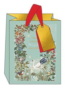 Christmas Gift Bags - MEDIUM Gift BAGS - WINTER Birds & BERRIES GIFT Bag - MERRY Christmas GIFT Bag - PRETTY Gold FOIL Gift BAG