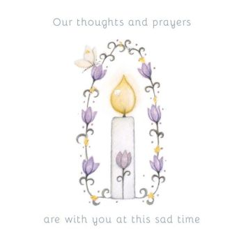 Our Thoughts And Prayers  Are With You - BEREAVEMENT Cards - PRETTY Candle BEREAVEMENT Card - SYMPATHY Cards - Condolence CARDS