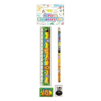 KIDS Stationery - JUNGLE ANIMALS Stationery Sets 4pc - School Stationery SUPPLIES - BIRTHDAY - Party BAG FILLER - Christmas STOCKING Filler