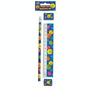 KIDS Stationery - SMILEY FACE Stationery Sets 4pc - School Stationery SUPPLIES - BIRTHDAY - Party BAG FILLER - Christmas STOCKING Filler
