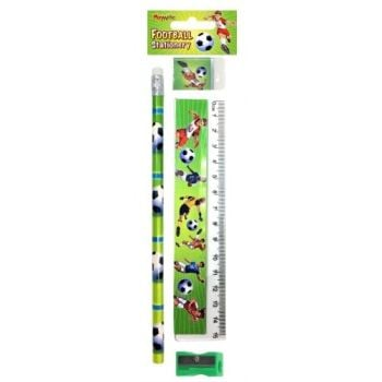 KIDS Stationery - FOOTBALL Stationery Sets 4pc - School Stationery SUPPLIES - BIRTHDAY - Party BAG FILLER - Christmas STOCKING Filler