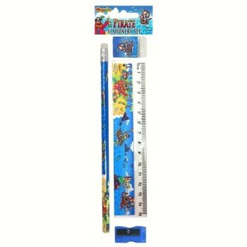 KIDS Stationery - PIRATE Stationery Sets 4pc - School Stationery SUPPLIES - BIRTHDAY - Party BAG FILLER - Christmas STOCKING Filler