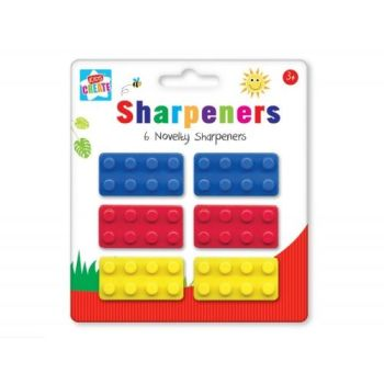 Pencil Sharpeners - NOVELTY Pencil SHARPENERS - 6 PACK - BUILDING Block Sharpeners - KIDS Stationery - Party BAG FILLER - Christmas STOCKING Filler