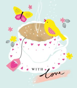 With Love - NOTE CARDS - TEA Cup - MINI Note CARDS - PACK Of 6 - MINI Note Cards With ENVELOPES - Mini CARDS & ENVELOPES - Small CARDS For GIFTS