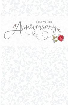 On Your Anniversary - PRETTY Red ROSE Wedding ANNIVERSARY Card - Anniversary CARDS Online - ANNIVERSARY Card For PARENTS - Friends