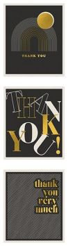 Pack Of 12 Thank You Cards - STYLISH Black & GOLD Thank YOU Note CARDS - Thank YOU Cards - MULTIPACK - PACK Of 3 DESIGNS