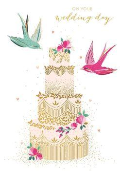 On Your Wedding Day - BEAUTIFUL Wedding CAKE Card - WEDDING Day CARDS - Gold FOIL Wedding CARD  - Wedding CARDS