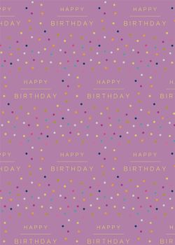 Happy Birthday Wrapping Paper - 2 SHEETS Of LUXURY Gift WRAP - RECYCLABLE Wrapping Paper - CUTE DOTTY Birthday Gift WRAP - SINGLE Sided Flat WRAP