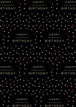 Happy Birthday On Black Wrapping Paper - 2 SHEETS Of LUXURY Gift WRAP - RECYCLABLE Wrapping Paper - STYLISH DOTTY Birthday Gift WRAP - SINGLE Sided
