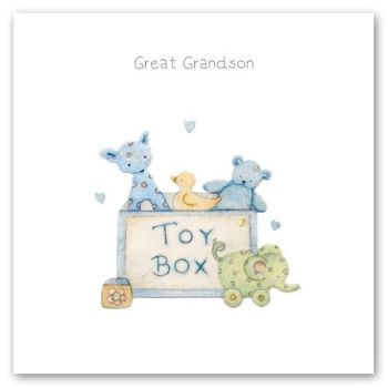 Great Grandson - NEW Baby Card - GREAT Grandson BIRTHDAY Card - NEW Great GRANDSON Card - PRETTY Silver FOIL Baby CARD