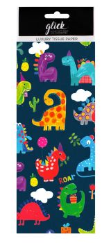 Fun Dinosaur Print Luxury Tissue Paper - Pack Of 4 LARGE Sheets - Luxury TISSUE Paper - GIFT Wrapping - DINOSAUR Printed TISSUE Paper