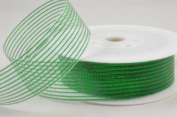 Striped Lurex Ribbon - 40M - GREEN - CHRISTMAS Ribbon - WIRED Gift RIBBON - Green STRIPED Lurex Gift WRAPPING Ribbon 40M x 2CM