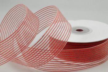 Striped Lurex Ribbon - 40M - RED - CHRISTMAS Ribbon - WIRED Gift RIBBON - Red STRIPED Lurex Gift WRAPPING Ribbon 40M x 2CM