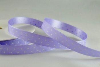 Polka Dot Ribbon - 20M x 10mm - PALE LILAC - Pretty LILAC & White POLKA Dot RIBBON - SATIN Ribbon - LILAC Ribbon