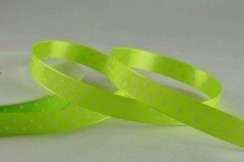 Polka Dot Ribbon - 20M x 10mm - LIME GREEN - Stylish GREEN & White POLKA Dot RIBBON - SATIN Ribbon - GREEN Ribbon