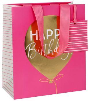 Birthday Balloon Gift Bag - MEDIUM Portrait Bag - PINK GIFT Bags - Pretty Gift BAG For HER - BIRTHDAY GIFT Bag - Medium GIFT Bag With TAG