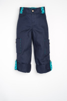 Handmade Childrens Cargos -  Little Stars, Navy with Green Trim