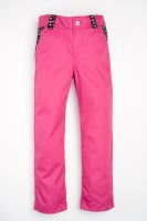 Handmade, Girls Hot Pink Jeans with Navy Flowers