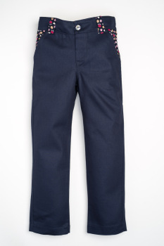 Handmade Girls Jeans/Trousers - Navy with Navy Flowers