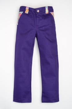 Handmade, Limited Edition, Girls Jean/Trousers - Purple and Blue Hearts