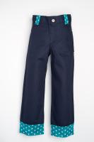Handmade, Childrens Wide Leg Jean- Little Stars, Navy with Green Trim