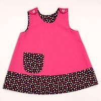 Handmade, Girls 2 in 1 Dress - Limited Edition - Pink Flower and Strawberry Trim