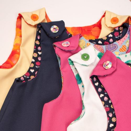 Girls Pinifore Dresses Easy Wear Button Fastenings