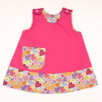 Handmade, Girls 2 in 1 Dress - Limited Edition - Pink Heart Trim