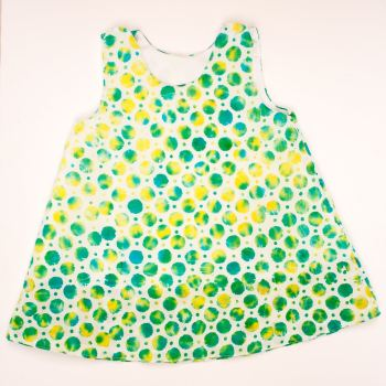 Handmade, Girls 2 in 1 Dress - Limited Edition - White Green Spots